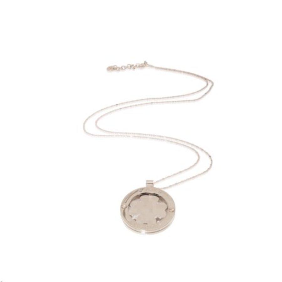 Medaillon 85cm ketting - Zilver/ Klavervier