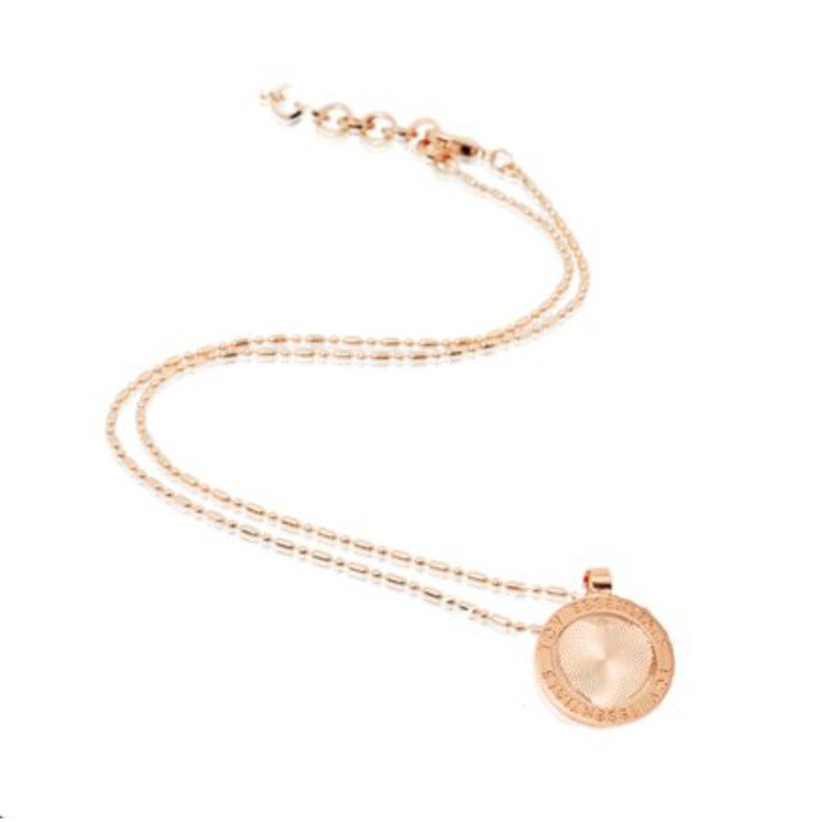 Small medaillon ketting - Rosé/ Hart munt 2cm