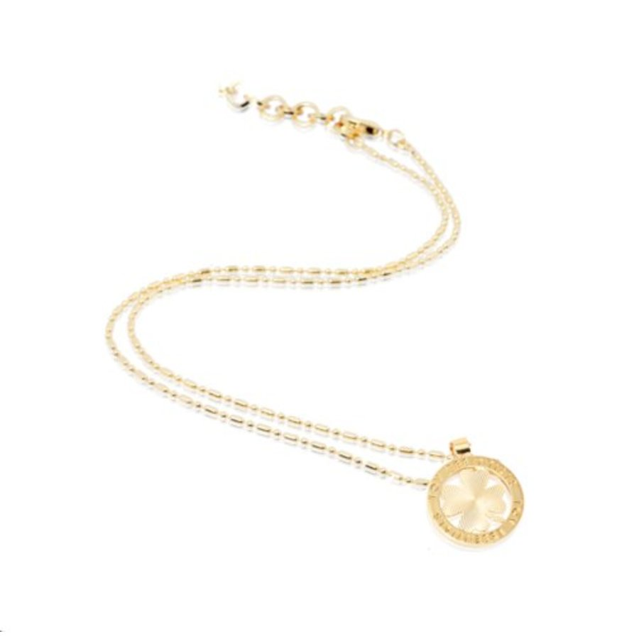 Small medaillon necklace - Gold/ 4leaf coin 2cm