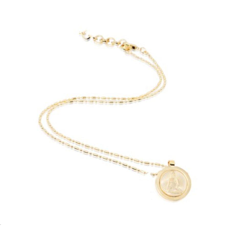 Small medaillon ketting - Goud/ Buddha TOV munt 2cm