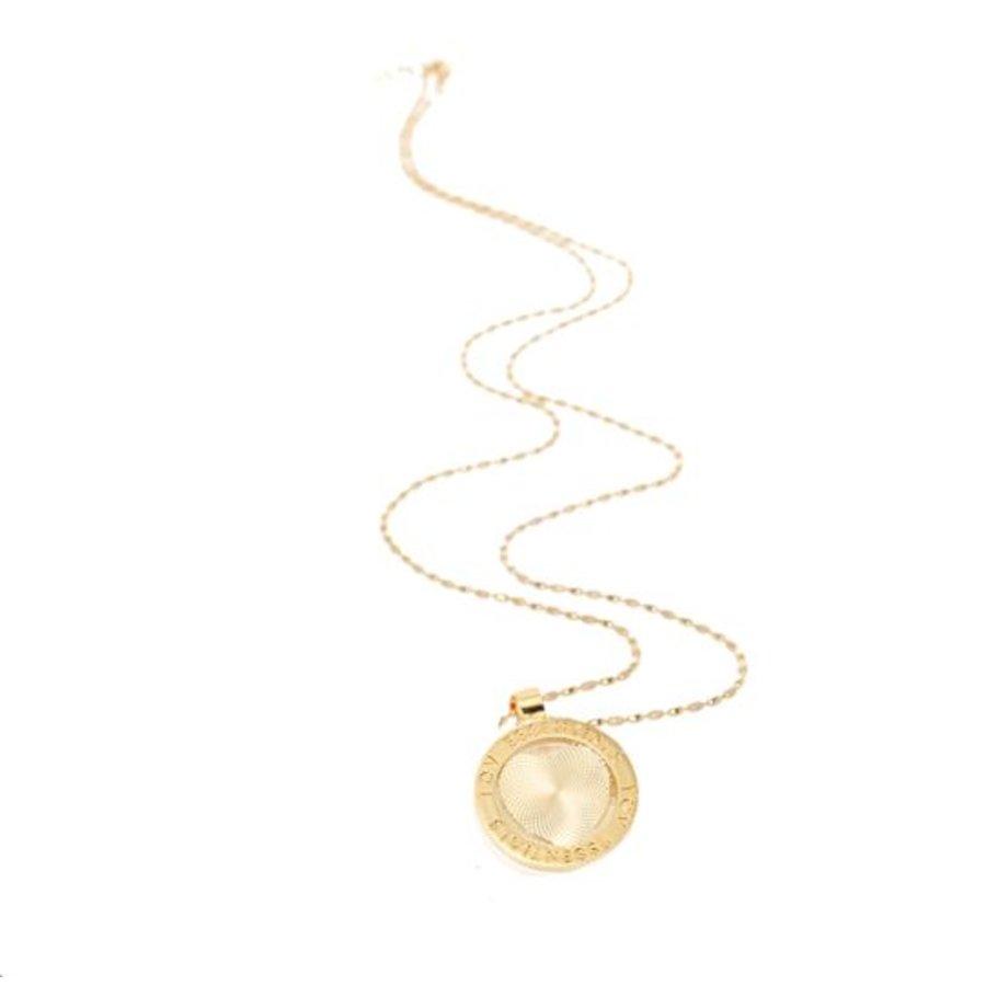 Medaillon ketting - Goud/ Hart munt 3cm