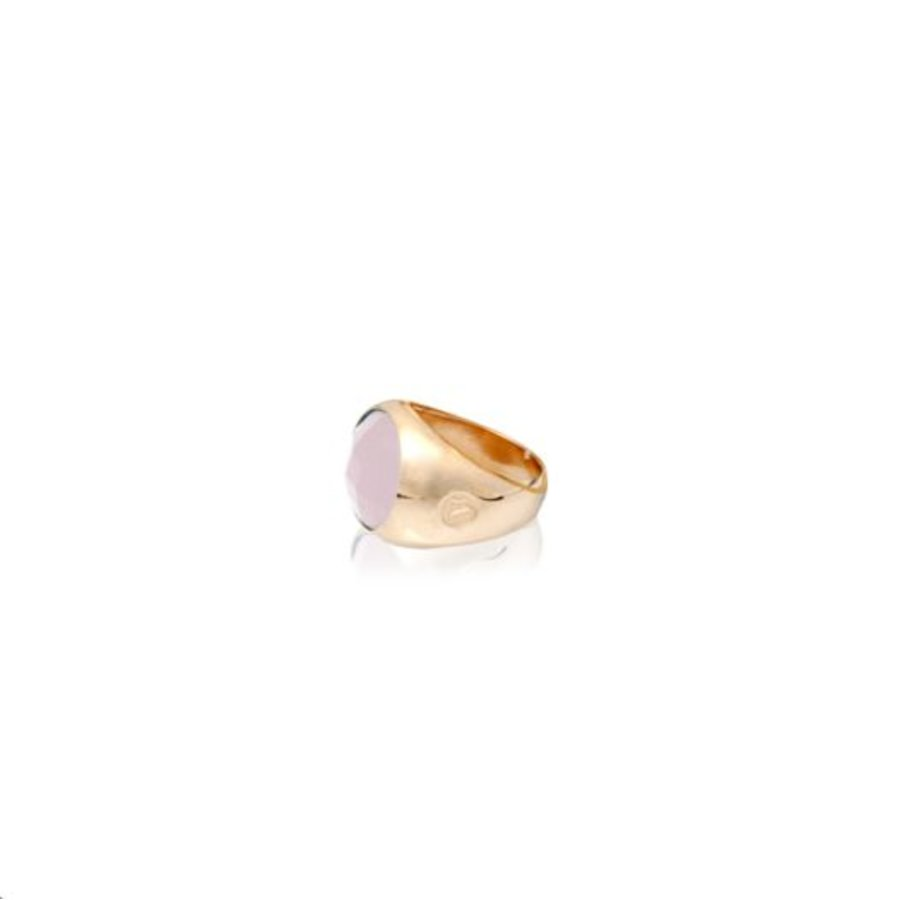 Oval stone ring 18 - Rosé/ Rosé quarts