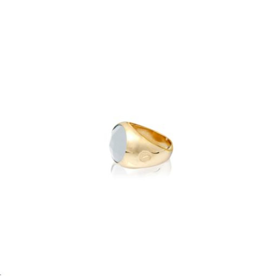 Oval stone ring - Gold/  White quartz
