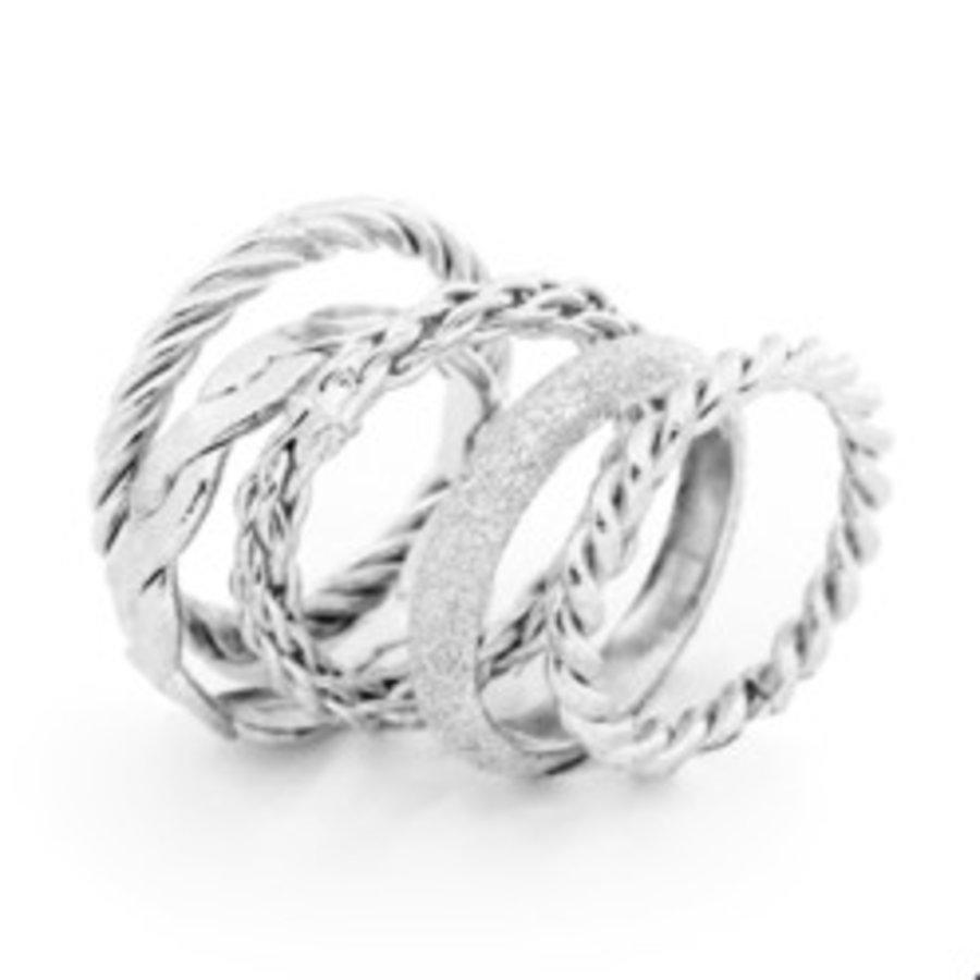 Set 5 rings 16 - Zilver