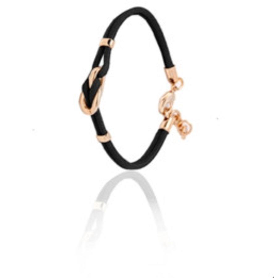 Eclips mini cord armband - Rosé/ Zwart