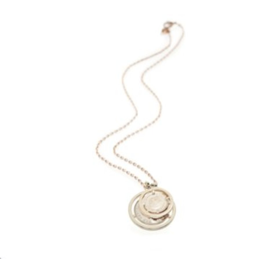 Double coin ketting - Champagne goud