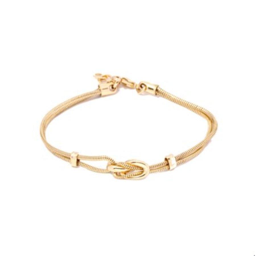 Small metal eclips armband 18 - Goud