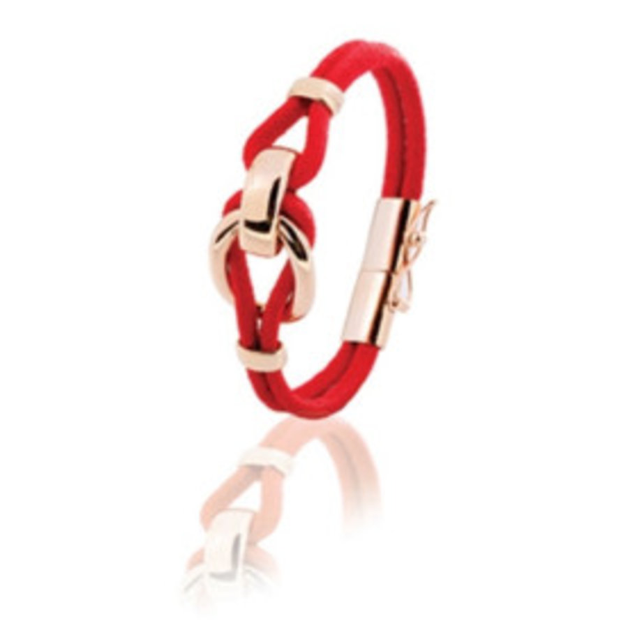 Eclips small cord armband 19 - Rosé/ Rood