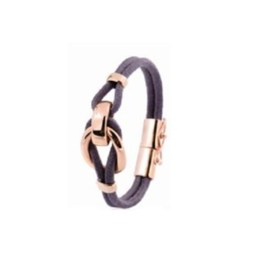 Eclips small cord armband 18 - Rosé/ Donker bruin
