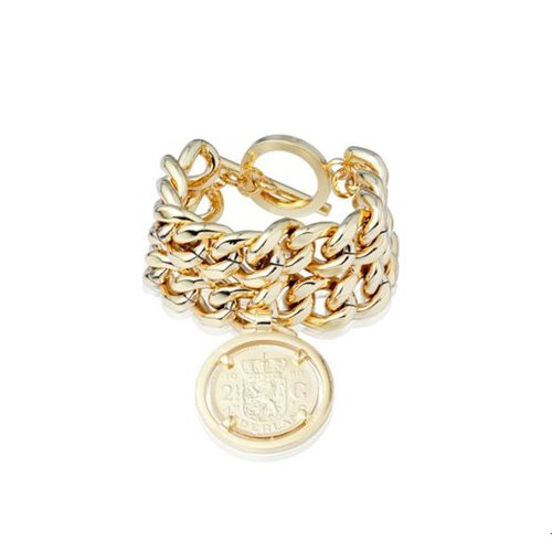 Double chain armband - Goud