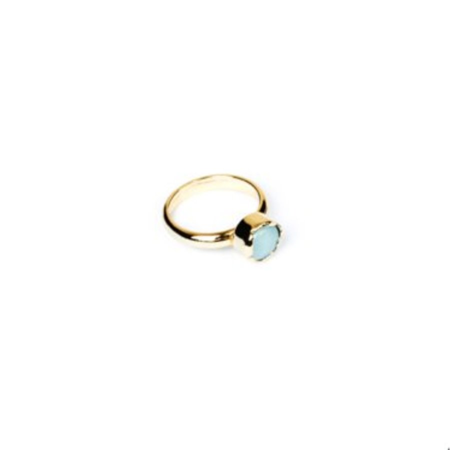 Round gemstone ring - Gold/ Aquamarine