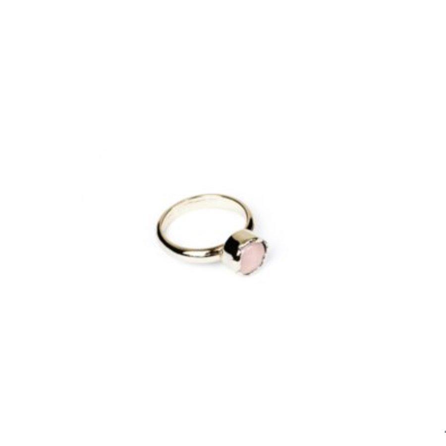Round gemstone ring 18 - Champagne goud/ Rosé quartz