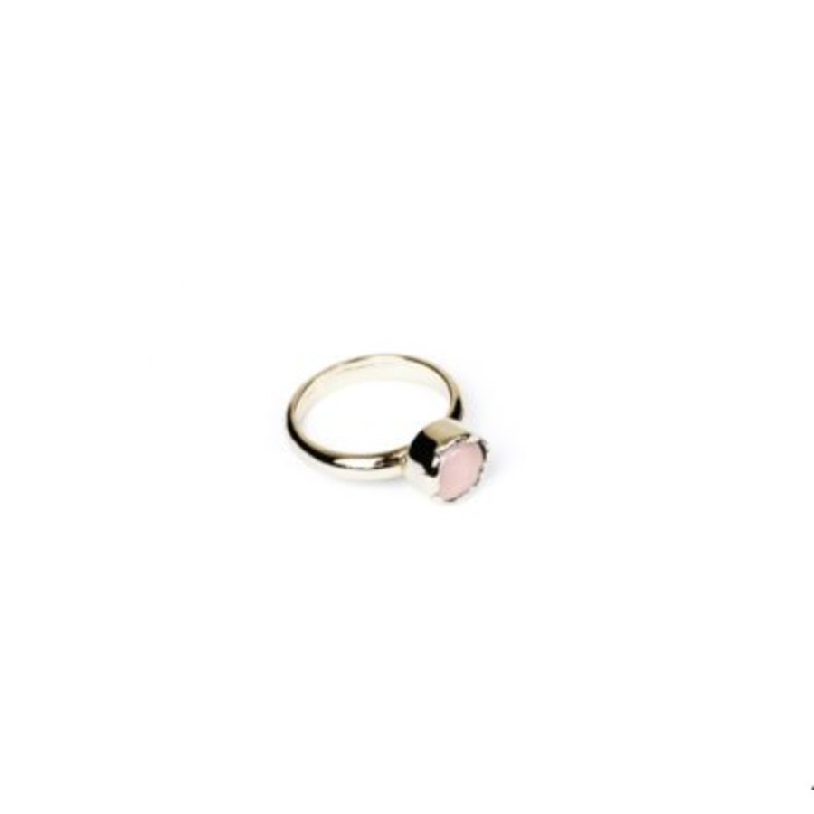 Round gemstone ring - Light gold/ Rose quartz