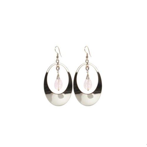 Oval gemstone oorbellen - Zilver