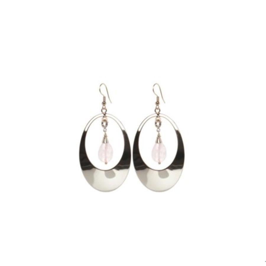 Oval gemstone earrings - Silver