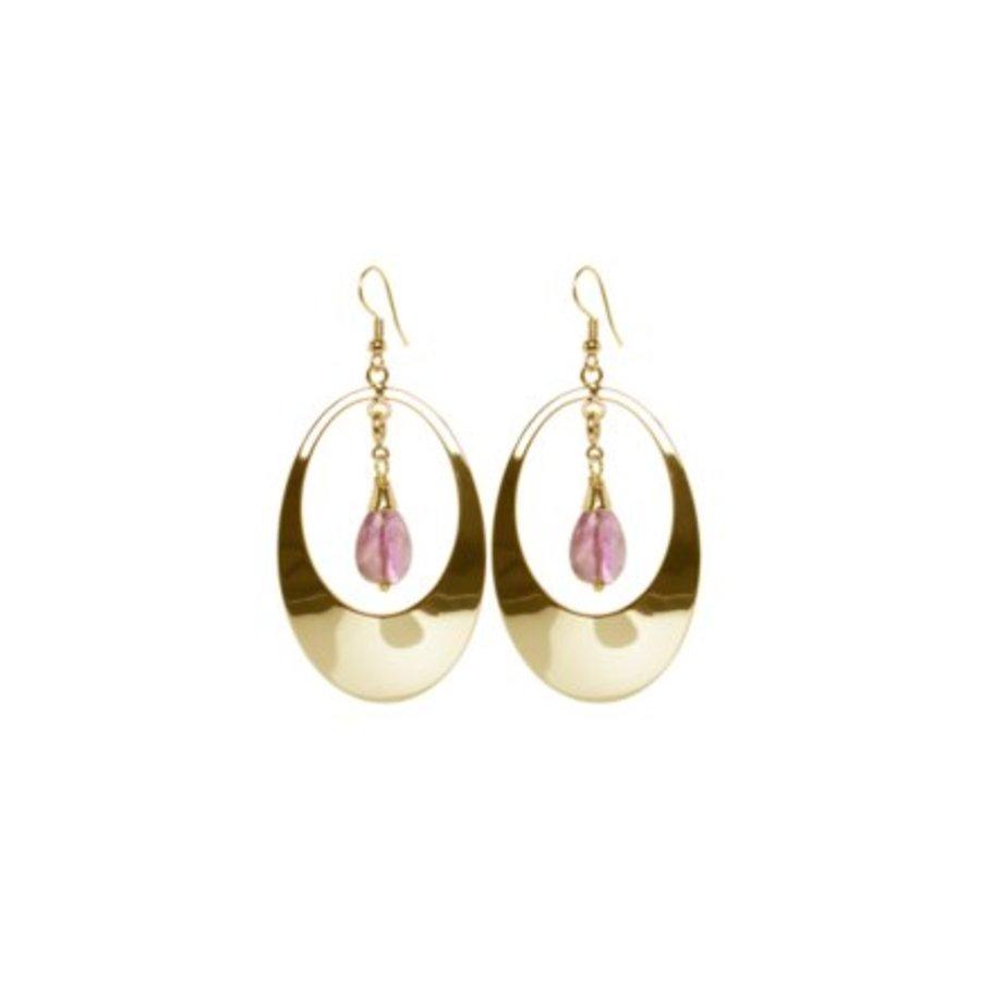 Oval gemstone earrings - Gold