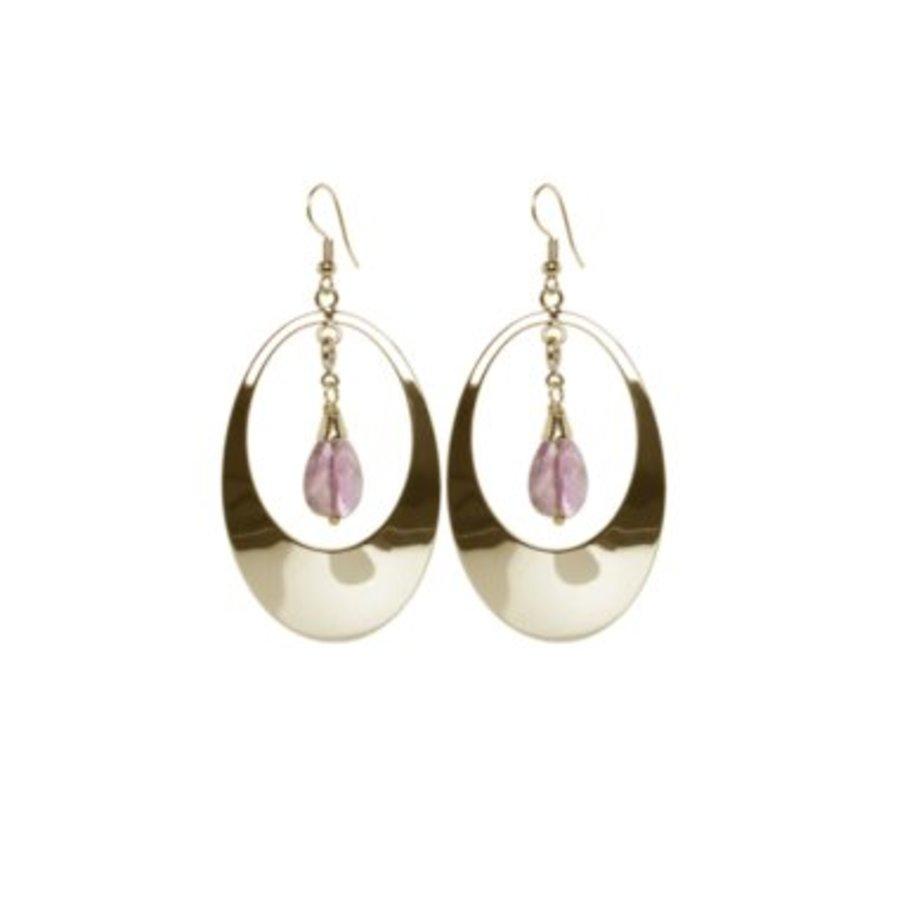 Oval gemstone earrings - Champagne goud