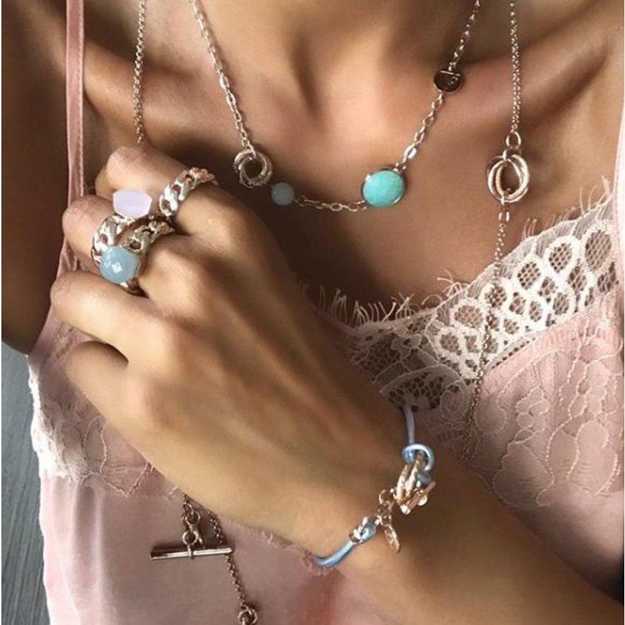 Tri rings lederen armband - Rosé/ Roze
