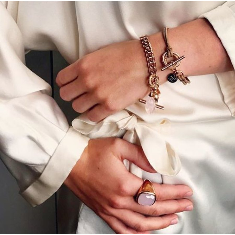 Tri ringen lederen armband - Rosé/ Ivory