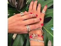 Tri rings lederen armband - Rosé/ Rood