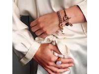 Tri rings lederen Armband - Rosé/ Bruin
