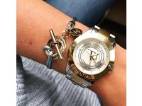 Tri rings lederen armband - Rosé/ Cobalt