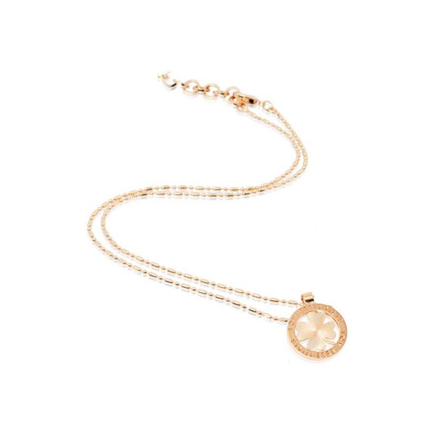 Small medaillon ketting - Rose/ Klavervier munt 2cm
