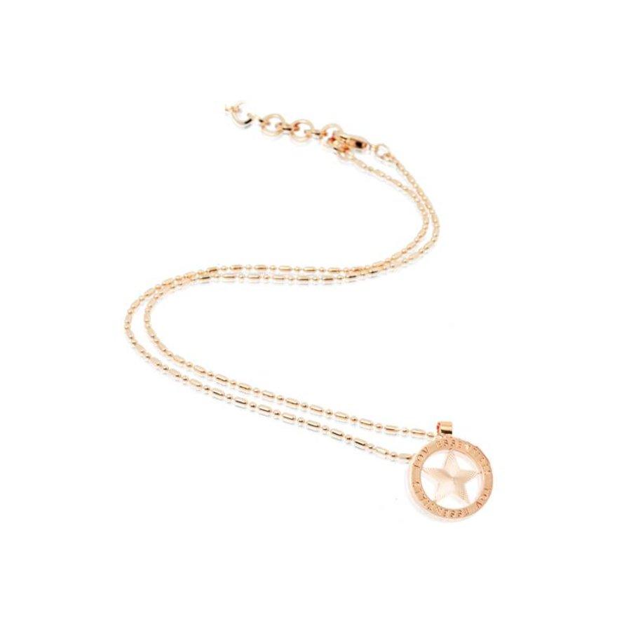Small medaillon ketting - Rosé/ Ster munt 2cm