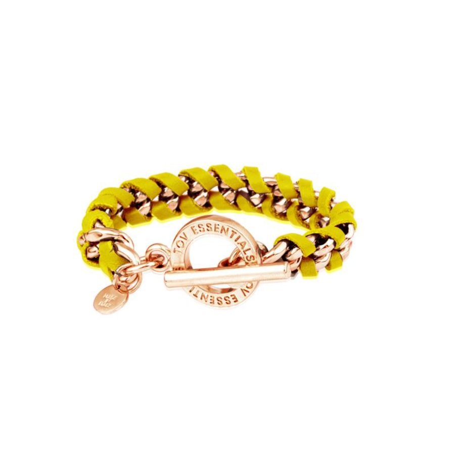 Small flatchain leather - Rose/ Yellow