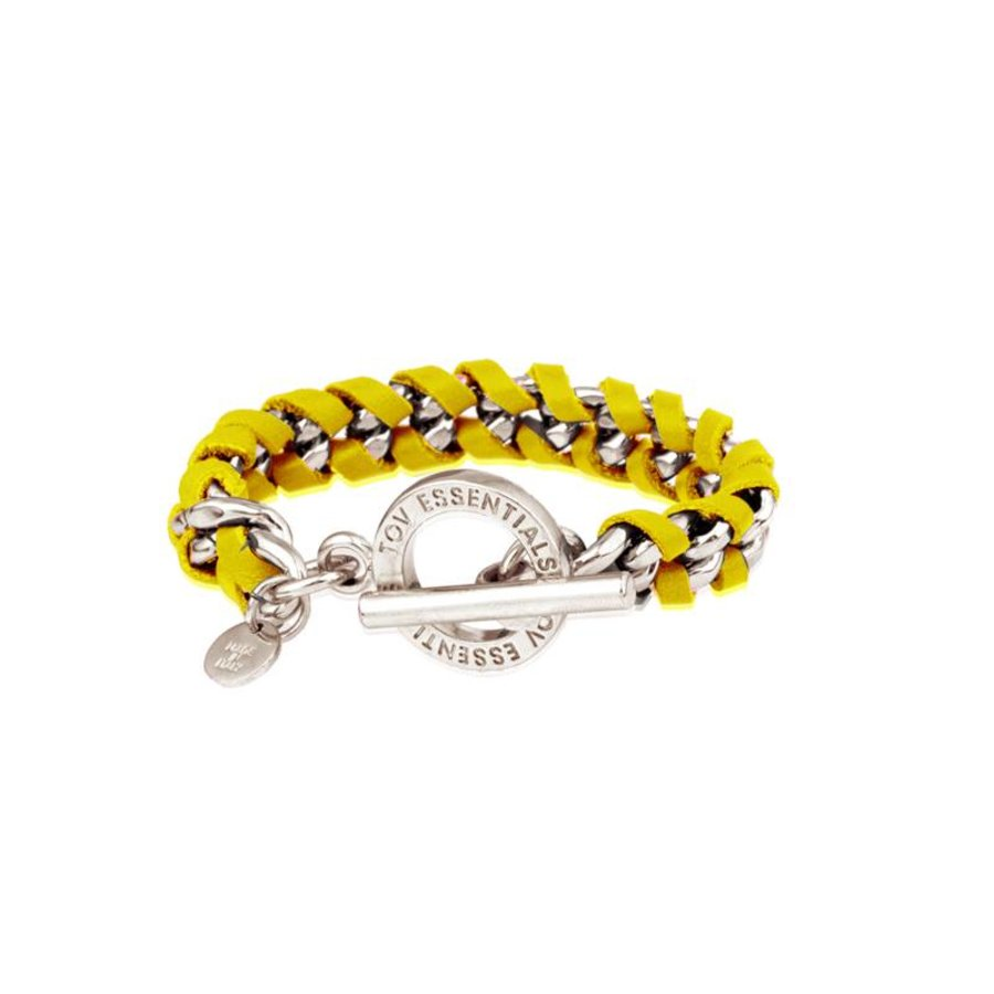 Small flatchain leather - Silver/ Yellow