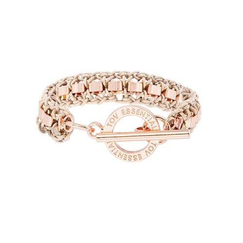 Small cord venice armband - rose - naturel
