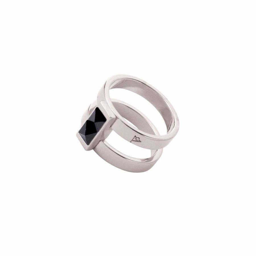 Phoenix multi ring - White gold/ Jet metallic