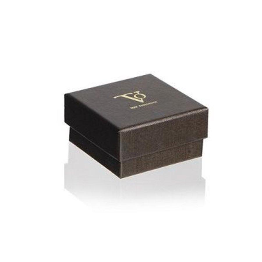 Mini flat chain oorbel - Wit goud