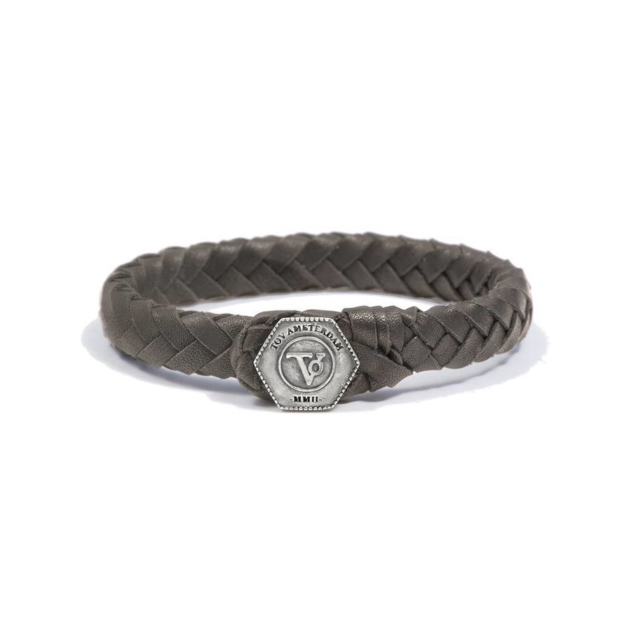 THE LOCK & LEATHER BRACELET - TAUPE - SILVER