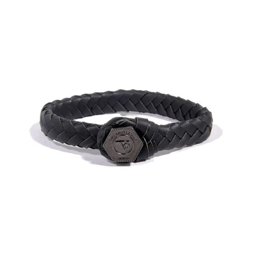 THE LOCK & LEATHER BRACELET - BLACK - GUN METAL