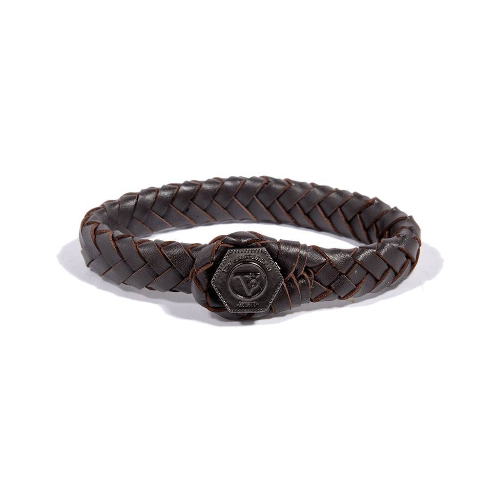 The Lock Leather Bracelet Dark Brown Gun Metal