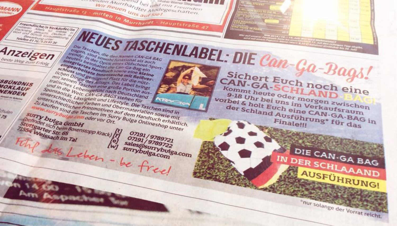 CAN-GA-BAGS in der lokalen Backnanger Kreiszeitung