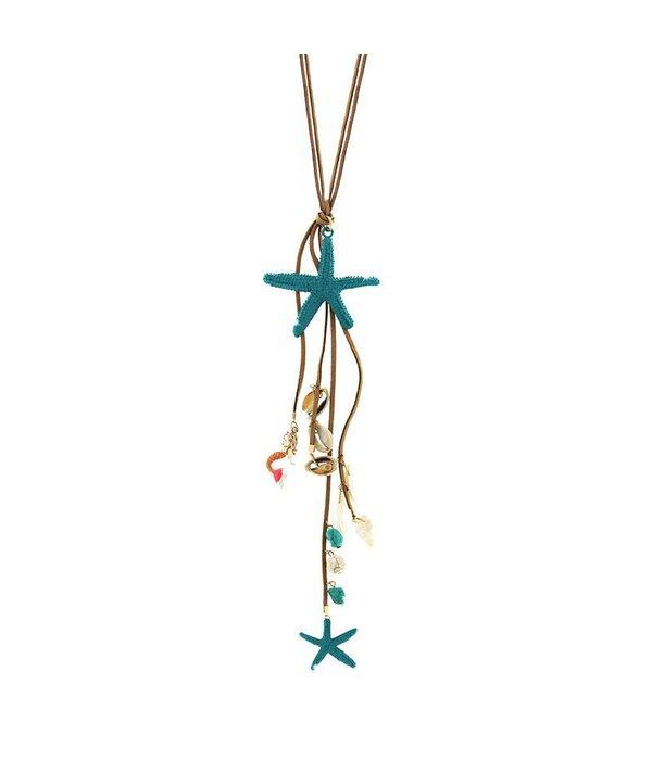 Necklace Evanthia, gold/turquoise