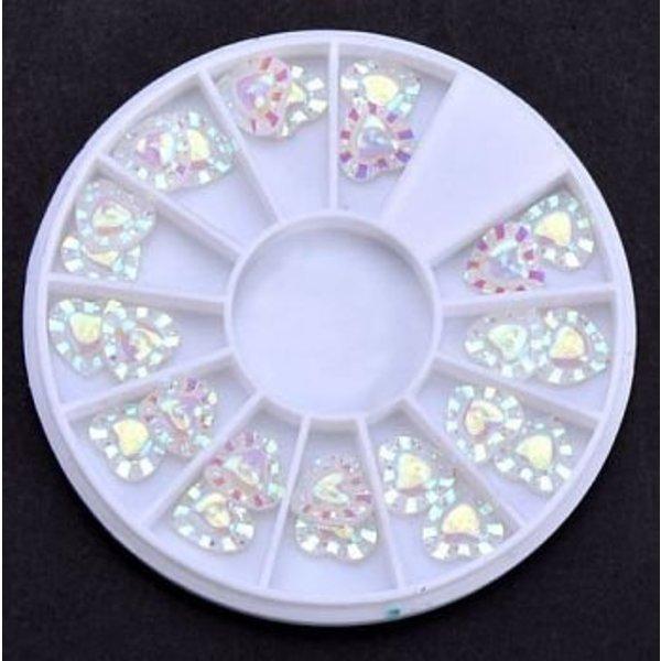 Nail Art Wheel - White Hearts