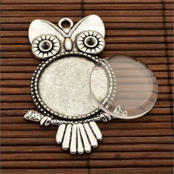 Owl pendant + Glass Stone25MM