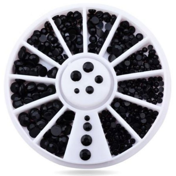 Nail Art Wheel - Black Rhinestones
