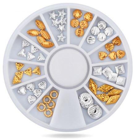 Nagel-Kunst-Wheel - Gold U0026 Silver Shapes