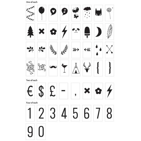 ALLC Set pour Lightbox: Chiffres et Symboles