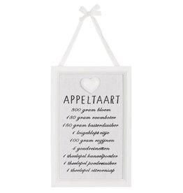 Clayre en Eef tekstbord, appeltaart recept