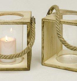 lantaarn glas in houten houder (set van 2 )