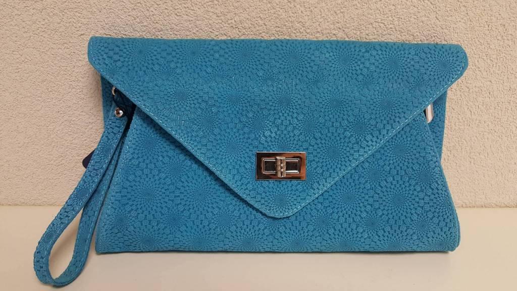 Guiliano suede/ lederen clutch, blauw
