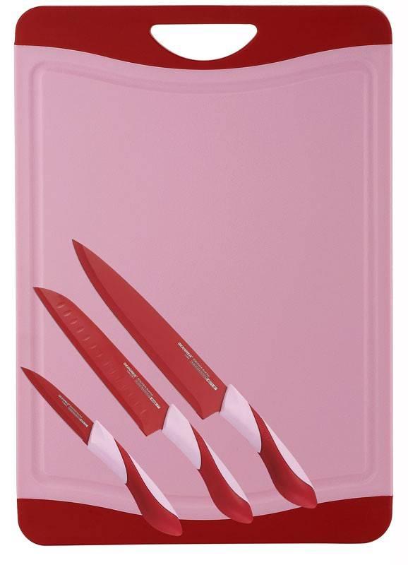 Bergner Snijbord met 3 messen (rood)