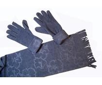 Cadriano Cadriano Fleece sjaal met handschoenen (grijs)