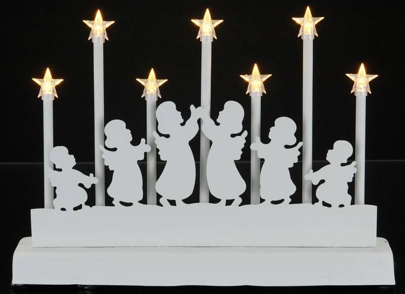 Decoratieve Kaarsenbrug met 7 LED's Engel