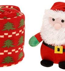 Pluche kerstman met deken
